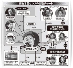 沢尻エリカ薬物関係図